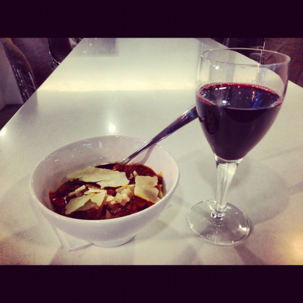 "Chili & penne with a good ""The Gentleman"" cabernet Sauvignon from Barossa Valley, South Australia"