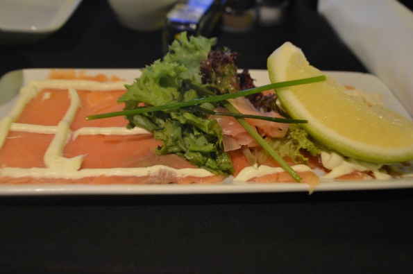Close up of the salmon carpaccio