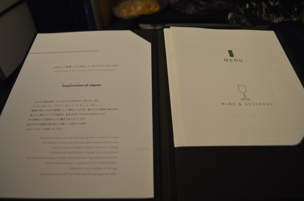 Fancy menu - the biggest selection I have seen yet on a plane.
