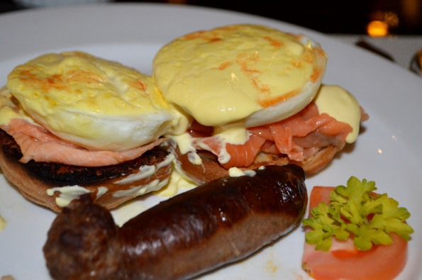 Eggs Benedict and beef sausage to start the day well!