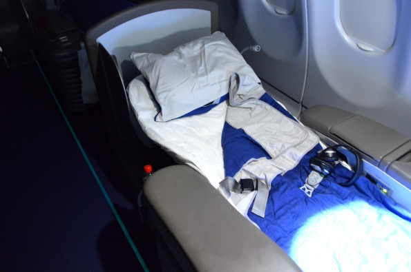My seat-bed - completely flat and very comfortable