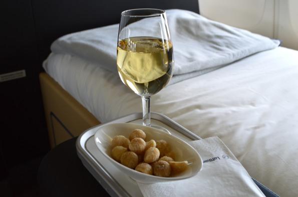 Lufthansa signature macadamia nuts and champagne