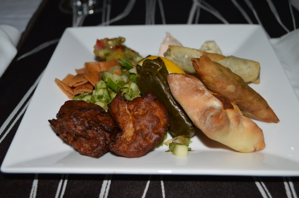 Mezze, pakoras, and samosas
