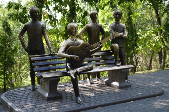 A Beatles statue. Apparently this is the only statue in the World with all the Fab Four together