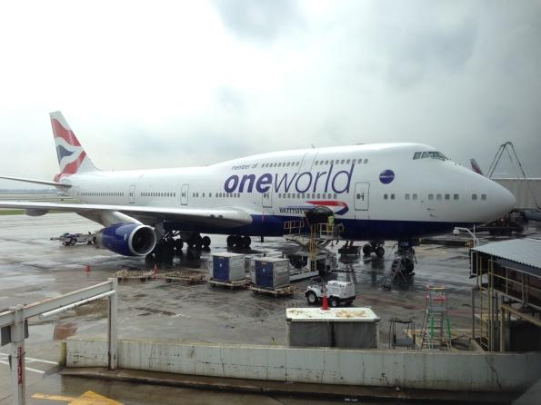 A British Airways 747 parked nearby