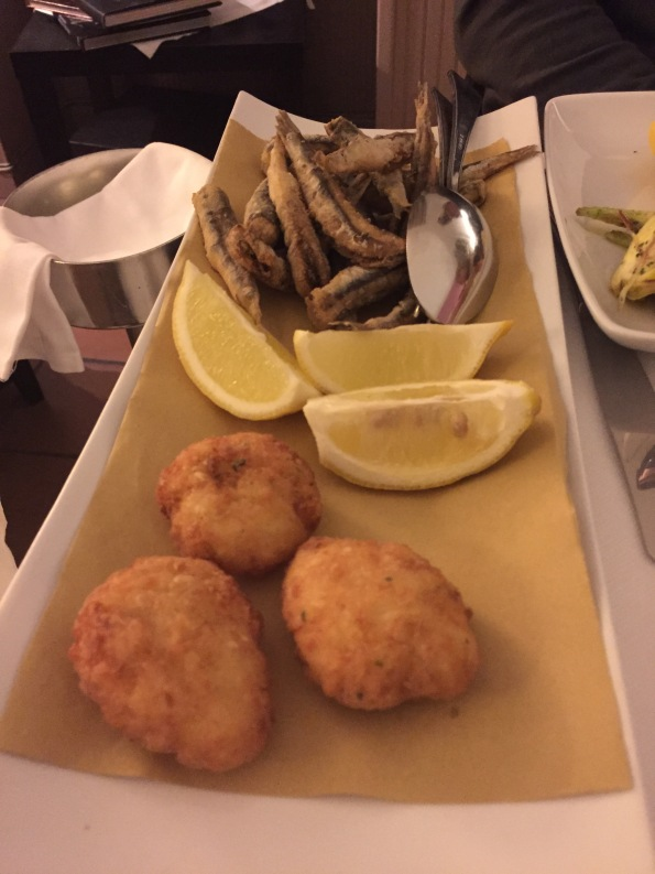 Cod fritters and fried anchovies