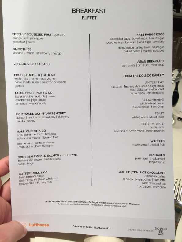 Breakfast menu