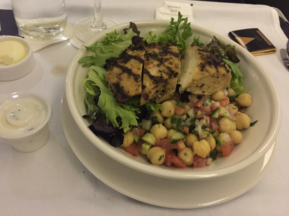 Chicpea salad with chicken and raita